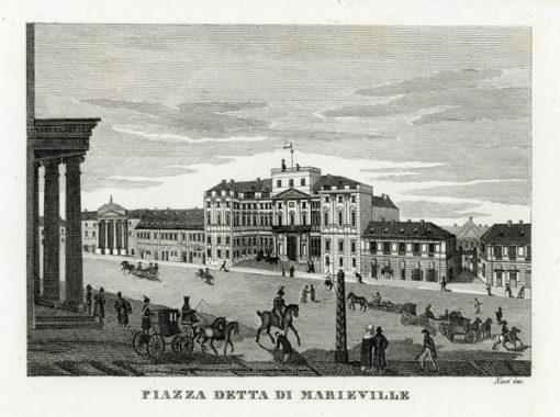 """Oryginalny miedzioryt """"Piazza detta di Marieville"""" z przedstawieniem zabudowy placu Marywilskiego (dziś plac Teatralny) w Warszawie. Grafika sygnowana """"Nasi inc"""" powstała w 1831 r."""