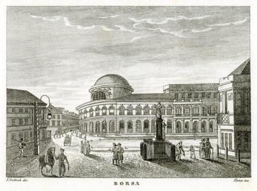 """Oryginalny miedzioryt """"Borsa"""" z przedstawieniem Banku Polskiego w Warszawie. Grafikę wykonał F. Dietrich oraz Verico w 1831 r."""