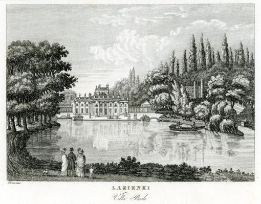 """Oryginalny miedzioryt """"Lazienki Villa Reale"""" z przedstawieniem warszawskich Łazienek. Grafikę wykonał Verico w 1831 r."""