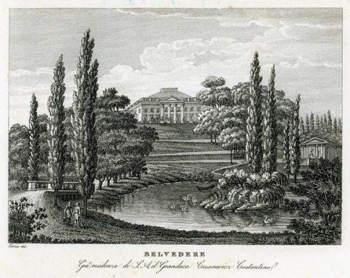 """Oryginalny miedzioryt """"Belvedere Gia residenza di S. A. il Granduca Cesarewicz Costantino"""" z widokiem na Belweder . Grafikę wykonał Verico w 1831 r."""