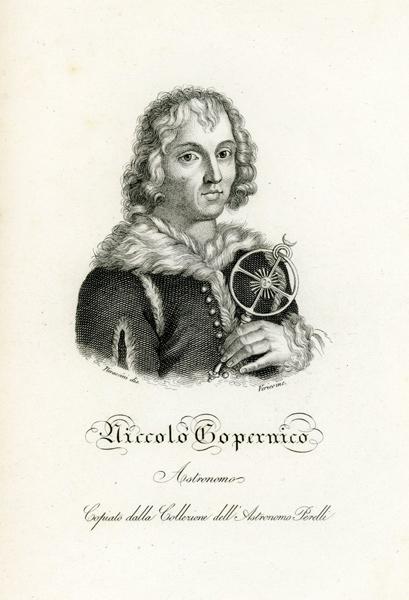 """Oryginalny miedzioryt """"Niccolo Copernico"""" z portretem astronoma Mikołaja Kopernika. Grafikę wykonał Verico w 1831 r."""
