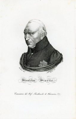 """Oryginalny miedzioryt """"Stanislao Staszic"""" z portretem Stanisława Staszica. Grafikę wykonał Bozza i Horwart w 1831 r."""