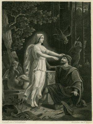 Niemiecka grafika przedstawiająca spotkanie mężczyzny z leśną nimfą. Grafika wykonana w technice stalorytu przez E. Wagnera wg rysunku J. Götzenbergera w 1860 r.