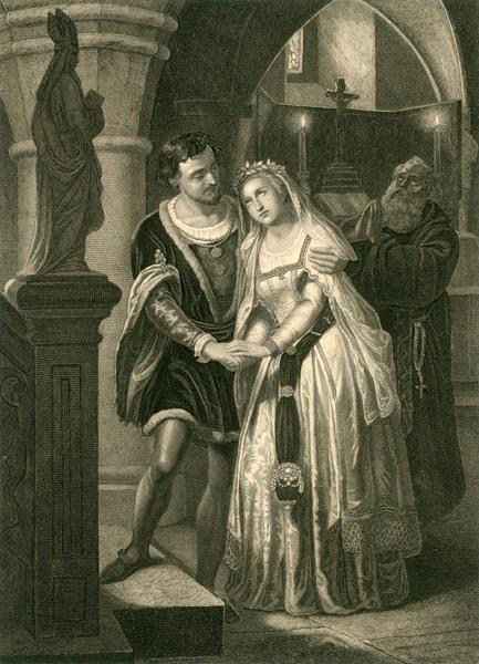 Grafika przedstawiająca parę arystokratów oraz zakonnika przed figurą biskupa w kościele