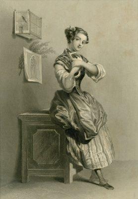 Grafika przedstawiająca panienkę opartą o skrzynię