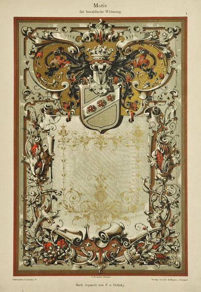 """Niemiecka secesyjna litografia z 1897 r. zatytułowana """"Motiv fur Heraldische Widmung"""" (Motyw heraldyczny). Wg akwareli F. v. Hollaky"""