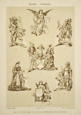 """Litografia z 1897 r. zatytułowana """"Heraldik - Schildhalter"""" (motywy heraldyczne). Wydał Julius Hoffmann"""