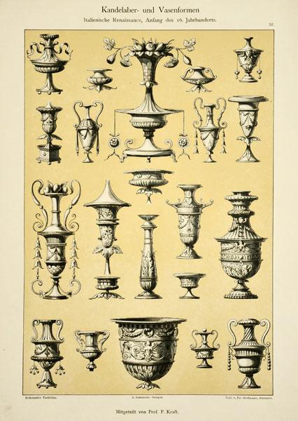 """Secesyjna litografia z 1897 r. zatytułowana """"Kandelaber und Vasenformen"""" (Kandelabry i wazy). Wydał Julius Hoffmann"""