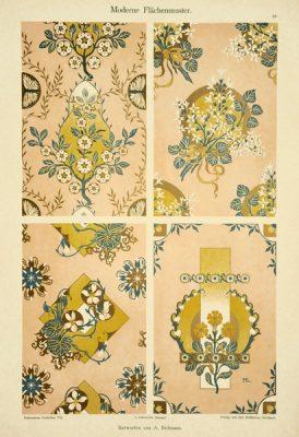 """Secesyjna litografia z 1897 r. zatytułowana """"Moderne Flachenmuster"""" (Nowoczesne wzory płaskie). Rysował A. Erdmann"""