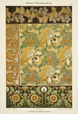 """Niemiecka secesyjna litografia z 1897 r. zatytułowana """"Moderne Flachendekorationen"""" (Nowoczesne motywy dekoracyjne). Projekt: Profesor G. Sturm"""