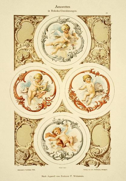 """Secesyjna litografia z 1897 r. zatytułowana """"Amoretten"""" (Amorki w rokokowych ramach). Wydał Julius Hoffmann"""