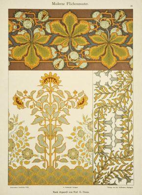 """Secesyjna litografia z 1897 r. zatytułowana """"Moderne Flachenmuster"""" (Nowoczesne wzory płaskie). Wydał Julius Hoffmann"""