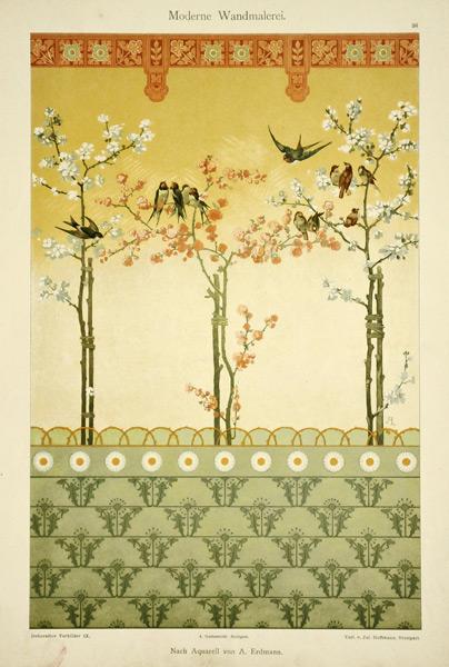 "Secesyjna litografia z 1897 r. zatytułowana ""Moderne Wandmalerei"" wg akwareli A. Erdmann'a"