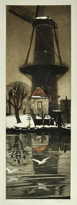 Oryginalna holenderska grafika przedstawiająca wiatrak wykonana w technice akwaforty podmalowywana gwaszem i akwarelą w I poł XX wieku przez artystę: Tjeerd Bottema (1884-1978)
