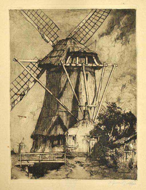 Oryginalna holenderska grafika przedstawiająca wiatrak wykonana w technice akwaforty z akwatintą na przełomie XIX i XX wieku. Grafika sygnowana ołówkiem w prawym dolnym rogu.