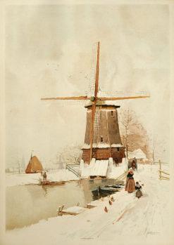 Oryginalna belgijska grafika przedstawiająca wiatrak w zimie w technice litografii. Grafika sygnowana na płycie w prawym dolnym rogu: HENRI CASSIERS