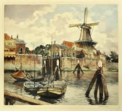 Oryginalna holenderska grafika przedstawiająca wejście do portu w Gorinchem. Grafika sygnowana na płycie oraz ołówkiem w prawym dolnym rogu: HENDRIKUS ELIAS ROODENBURG 1947.