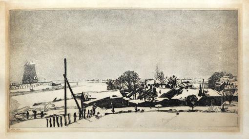 Oryginalna holenderska grafika przedstawiająca pejzaż zimowy. Grafika sygnowana na płycie oraz ołówkiem w prawym dolnym rogu: Antoon Derkzen van Angeren