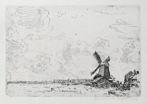 Oryginalna holenderska grafika przedstawiająca pejzaż zimowy z wiatrakiem. Grafika sygnowana ołówkiem w prawym dolnym rogu: Antoon Derkzen van Angeren