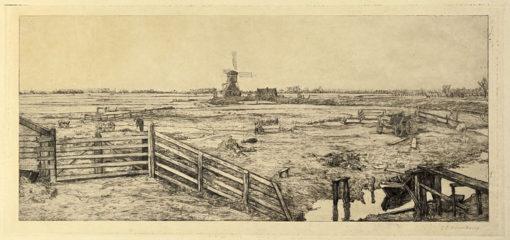 Oryginalna holenderska grafika z przełomu XIX i XX w przedstawiająca pejzaż wiejski z wiatrakiem. Grafika sygnowana ołówkiem w prawym dolnym rogu przez artystę: GERHARD CHRISTIAAN HAVERKAMP