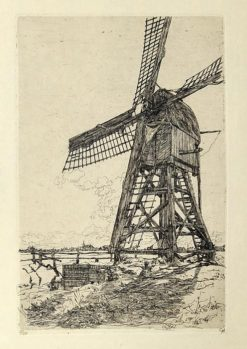 Oryginalna holenderska grafika z 1911 r przedstawiająca wiatrak w Hattem. Grafika sygnowana tuszem w prawym dolnym rogu przez artystę: GERHARD CHRISTIAAN HAVERKAMP (1872-1926).