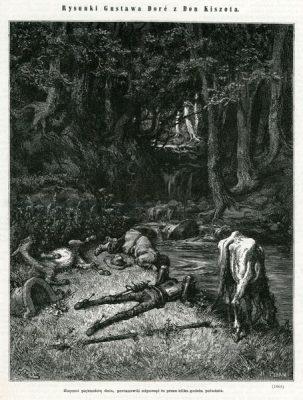 Grafika (drzeworyt sztorcowy) ilustrująca dzieje Don Kichota Cervantesa. Rycinę wykonał H. Pisan wg Gustava Doré w 1870 roku.