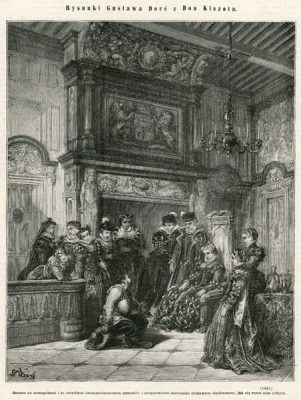Grafika (drzeworyt sztorcowy) ilustrująca dzieje Don Kichota Cervantesa. Rycinę wykonał rytownik wg rysunku Gustava Doré w 1871 roku.