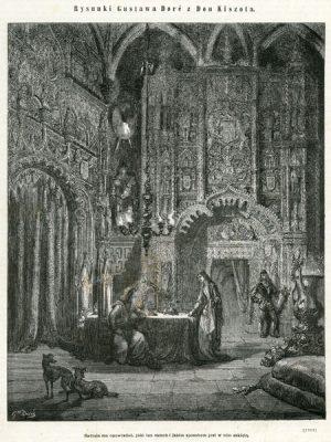 Grafika (drzeworyt sztorcowy) ilustrująca dzieje Don Kichota Cervantesa. Rycinę wykonał rytownik  wg rysunku Gustava Doré w 1870 roku.