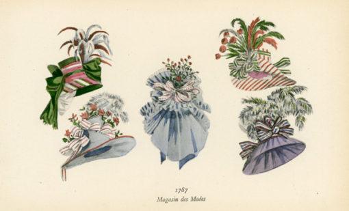 Niemiecka grafika przedstawiająca kapelusze modne w roku 1787. Grafika pochodzi z końca XIX wieku. Wykonana jest w technice mieszanej