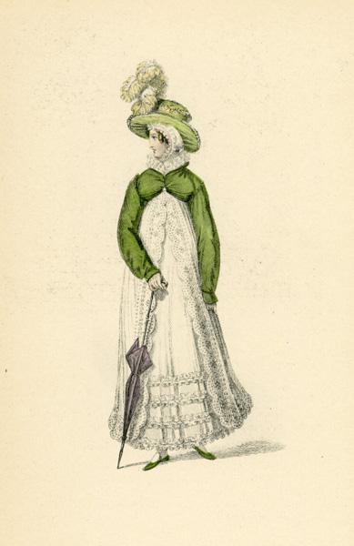 Niemiecka grafika przedstawiająca kobietę w stroju wiosennym z 1819 roku. Grafika pochodzi z końca XIX wieku. Wykonana jest w technice mieszanej