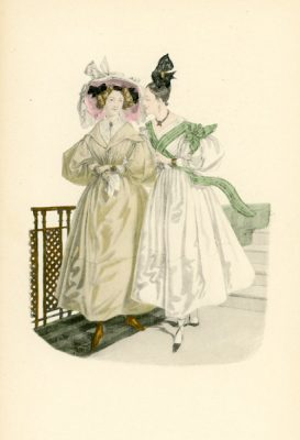 Niemiecka grafika przedstawiająca kobiety w francuskich sukniach modnych w 1830 roku. Grafika pochodzi z końca XIX wieku. Wykonana jest w technice mieszanej