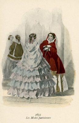 Niemiecka grafika przedstawiająca kobiety w francuskich sukniach modnych w 1855 roku. Grafika pochodzi z końca XIX wieku. Wykonana jest w technice mieszanej