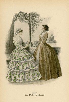 Niemiecka grafika przedstawiająca kobiety w francuskich sukniach modnych w 1850 roku. Grafika pochodzi z końca XIX wieku. Wykonana jest w technice mieszanej