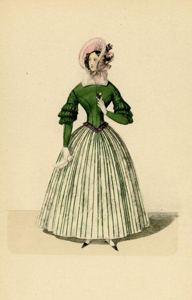 Niemiecka grafika przedstawiająca kobietę w sukni modnej w latach 1830-tych. Grafika pochodzi z końca XIX wieku. Wykonana jest w technice mieszanej