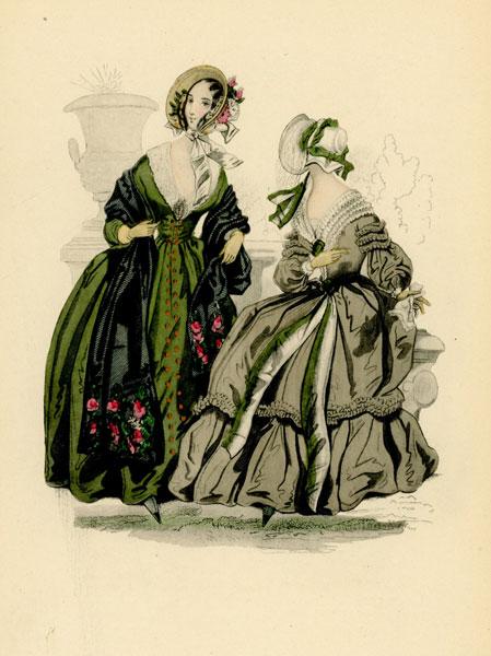 Niemiecka grafika przedstawiająca kobiety w francuskich sukniach modnych w latach 1840-tych. Grafika pochodzi z końca XIX wieku. Wykonana jest w technice mieszanej