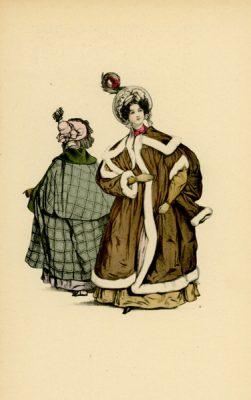 Niemiecka grafika przedstawiająca kobiety w płaszczach zimowych modnych w Paryżu w 1833 r. Grafika pochodzi z końca XIX wieku. Wykonana jest w technice mieszanej
