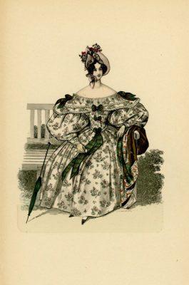 Niemiecka grafika przedstawiająca kobietę w sukni modnej w Wiedniu w 1834 r. Grafika pochodzi z końca XIX wieku. Wykonana jest w technice mieszanej
