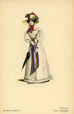 Niemiecka grafika z końca XIX wieku przedstawiająca kobietę w sukni modnej w Wiedniu w 1825r. Wykonana jest w technice mieszanej