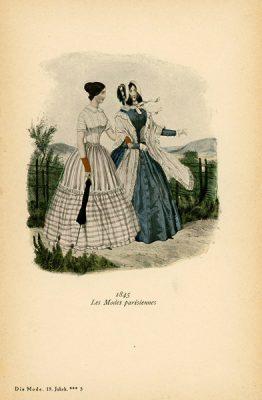 Niemiecka grafika z końca XIX w. przedstawiająca kobiety w sukniach modnych w Paryżu w 1845 r. Wykonana jest w technice mieszanej