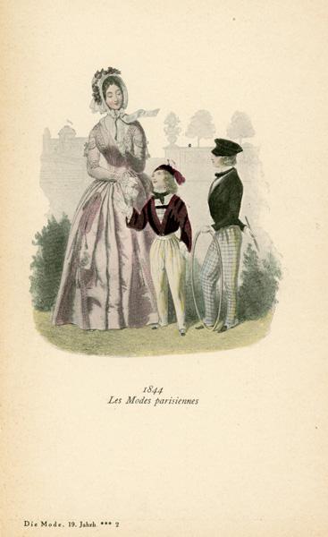 Niemiecka grafika przedstawiająca kobietę z dziećmi w strojach z 1844 r. Grafika pochodzi z końca XIX wieku. Wykonana jest w technice mieszanej