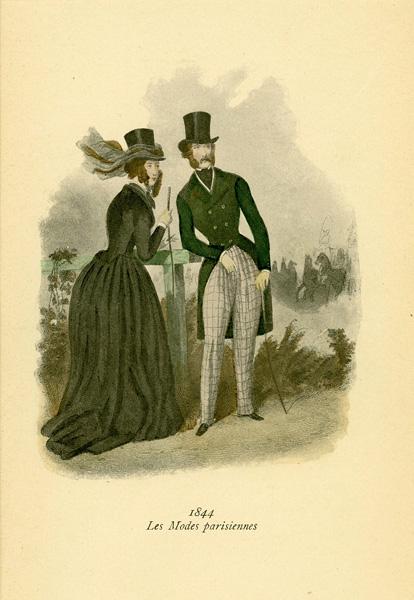 Niemiecka grafika z końca XIX w. przedstawiająca kobiety w sukniach modnych w Paryżu w 1844 r. Wykonana jest w technice mieszanej