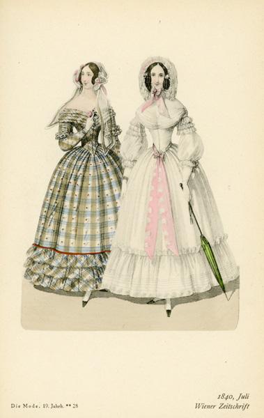 Niemiecka grafika przedstawiająca kobiety w sukniach modnych w 1840 r. Grafika pochodzi z końca XIX wieku. Wykonana jest w technice mieszanej