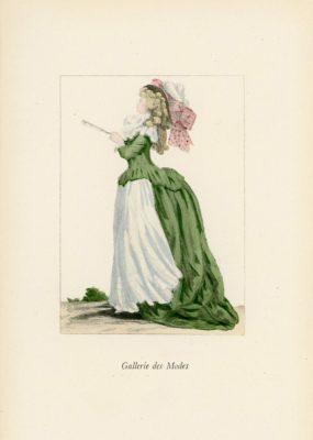 Niemiecka grafika przedstawiająca kobietę w stroju wiosennym z ok lat 1830-40. Grafika pochodzi z końca XIX wieku. Wykonana jest w technice mieszanej