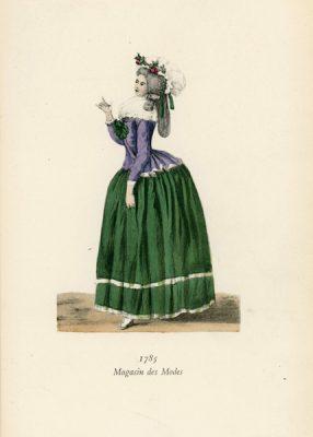 Niemiecka grafika przedstawiająca kobietę w stroju z 1785 r. Grafika pochodzi z końca XIX wieku. Wykonana jest w technice mieszanej