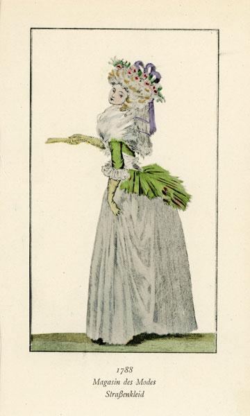 Niemiecka grafika przedstawiająca kobietę w stroju z 1788 r. Grafika pochodzi z końca XIX wieku. Wykonana jest w technice mieszanej
