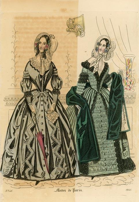 Francuska grafika Modes de Paris wykonana w technice barwnego stalorytu dla francuskiego czasopisma z 1841 roku.