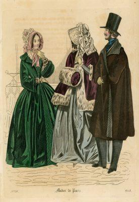 Francuska grafika Modes de Paris wykonana w technice barwnego stalorytu dla francuskiego czasopisma z 1842 roku.
