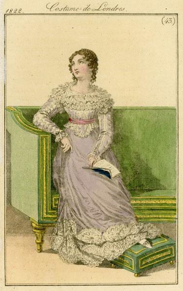 Francuska grafika Costume de Londres przedstawia strój modny w Londynie w latach 20-tych XIX wieku. Grafika wykonana została w technice barwnego miedziorytu.