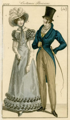 Francuska grafika Costumes Parisiens przedstawia stroje modne w Paryżu w latach 20-tych XIX wieku. Grafika wg rysunku Horace Vernet'a wykonana została w technice barwnego miedziorytu.