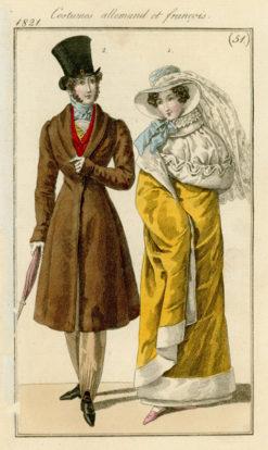 Francuska grafika Costumes allemand et francais przedstawia stroje modne w Niemczech i Francji w latach 20-tych XIX wieku. Grafika wg rysunku Horace Vernet'a wykonana została w technice barwnego miedziorytu.